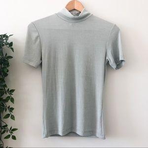 Vintage Green Mock Neck T-Shirt